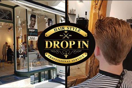 Du får professionel service hos Drop In Hairtstyle i Kbh. - Herreklip inkl. vask, hårkur og føn hos Drop In Hairstyle, værdi kr. 400,-