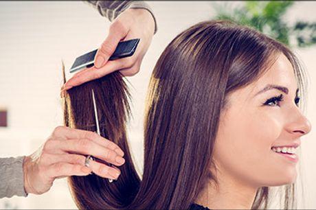 Hyggelig salon med veluddannede frisører! - Dameklip, striber ell. farver, hårkur, vask og føn i mellemlangt hår hos iCut, værdi kr. 1330,-