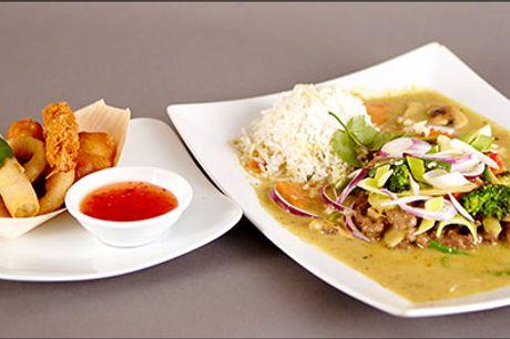 Kylling i karry, forårsruller, indbagt kylling - Prøv denne lækre asiatiske menu for 1 person hos Restaurant Le, værdi kr. 144,-