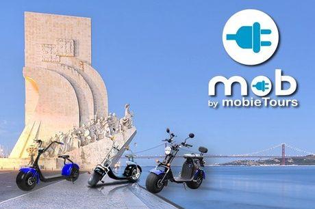 Nesta tour irá passar por alguns dos pontos mais marcantes da história de Lisboa. Pode conduzir uma Scooter Mob a partir de 25,90€.