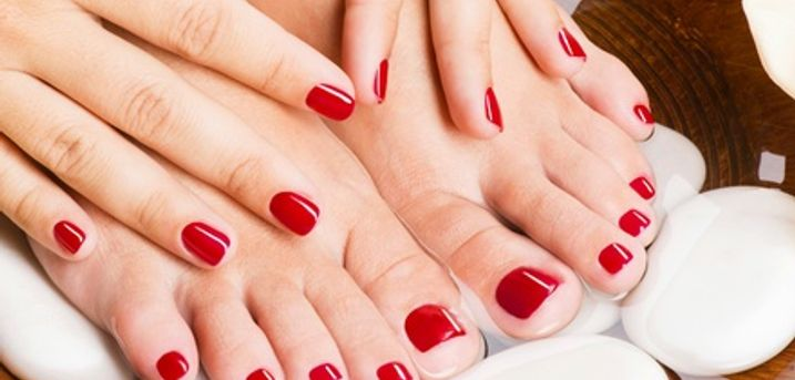 Gelish Polish on Hands and Feet Plus Eyebrow Tint and Spray Tan at Inches Beauty Salon