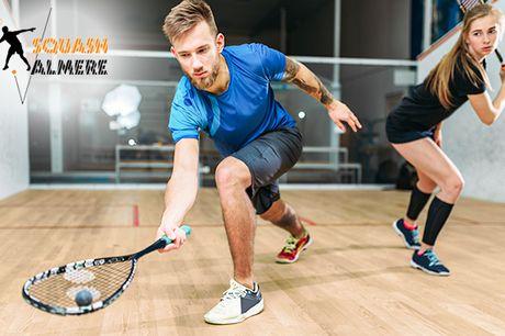Huur squashbaan of les + rackets en balletje