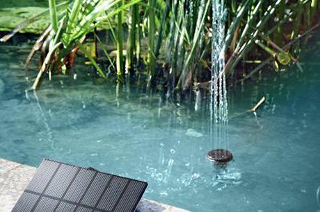 Fontein op zonne-energie Duurzame manier om je vijver van zuurstof te voorzien. Creër je eigen waterornament. Lengte waterstraal: 45cm. Maximale verplaatsing 150 liter per uur.