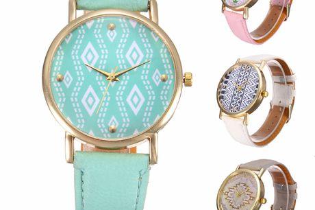 Aztec horloge PU lederen horlogeband. Hippe pastelkleuren. Quartz uurwerk. Verstelbare gespsluiting.