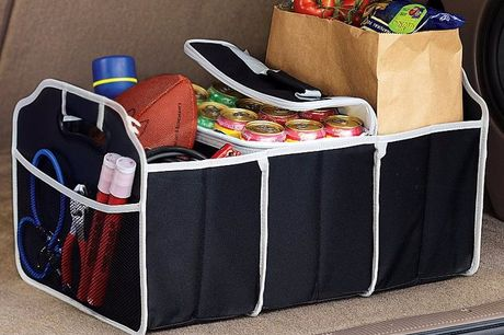 Opvouwbare kofferbak organiser Komt altijd wel van pas. Bevat diverse handige vakken. Berg je rondslingerende spulletjes in de kofferbak veilig op. Eenvoudig in te klappen. Ook handig voor boodschappen.