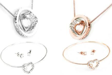 1 of 2 sieradensets bestaande uit een ketting, oorbellen en armband met Swarovski®-kristallen