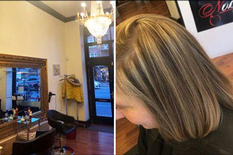 Dejlig dameklip inkl. lyse striber m.m.! - Få en dameklipning inkl. lyse striber og hårkur m.m. hos Nobell Frisør - hvor der bruges naturprodukter. Vælg ml. 2 tilbud, værdi op til kr. 1600,-