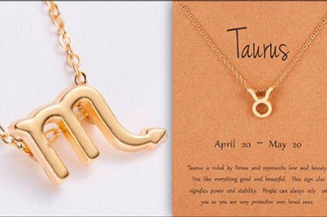 Personliggør din halskæde! - 1 stk. halskæde med stjernetegns vedhæng forhandlet fra Shoppio, værdi kr. 199,-