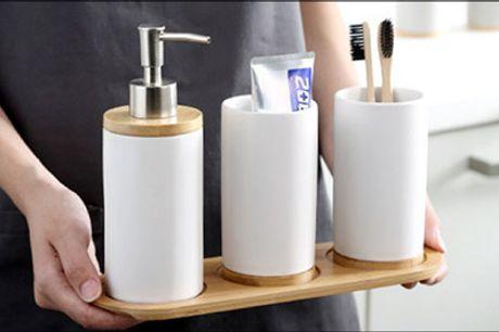 Hold orden på badeværelset! - Sæbedispenser sæt fra Shoppio, vælg ml. flere farver og str., værdi op til kr. 529,-