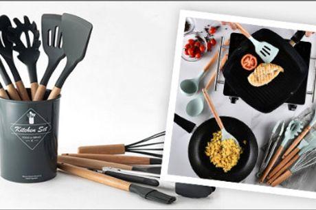 Skarp pris på 11 køkkenredskaber! - Køkkensæt med 11 dele fra Shoppio, vælg ml. flere farver, værdi kr. 499,-