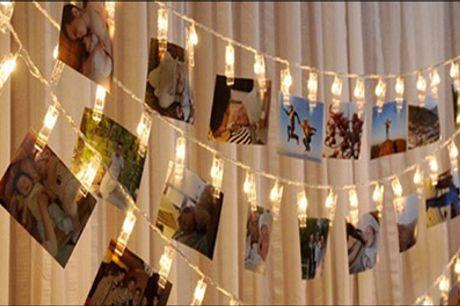 Hæng minderne op på væggen! - Lyskæde til dine billeder fra Shoppio, vælg ml. flere, værdi op til kr. 219,-