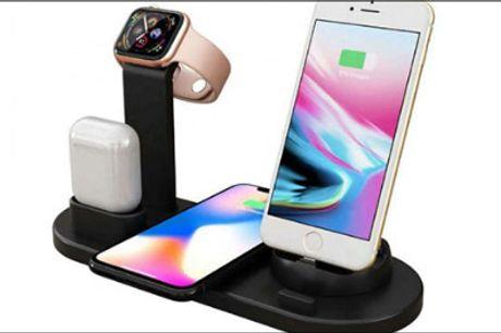 Hold samling på dine gadgets! - 4-i-1 trådløs ladestation fra Shoppio, værdi kr. 499,-