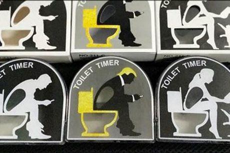 Kender du en som bruger for meget tid på toilettet? - Sjov toilet timer fra Try Us, værdi kr. 199,-