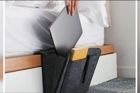 Hold styr på tingene på en tjekket og praktisk måde når du opholder dig i sengen eller sofaen! - 1 stk. lækker organizer-lomme i mørkegrå filt, værdi kr. 439,-