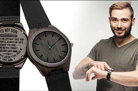 Den perfekte gave til en du holder af ♥ - 1 stk. armbåndsur med tekst fra Try Us, værdi kr. 634,-