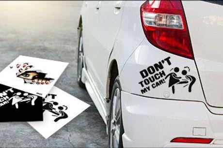 Sjove stickers med budskab! - 1 stk. sticker til bilen fra Try Us, værdi op til kr. 154,-