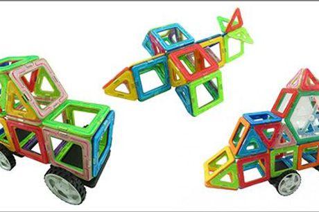 Mange timers sjov med magnetisme, geometrisk og matematisk forståelse! - Magsmarters sæt med 51 dele, inkl. fragt, værdi kr. 1030,-