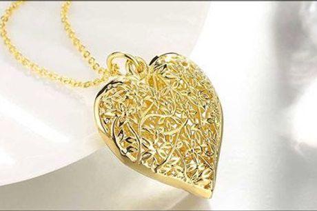 Romantisk smykke! - Kæde med hjertevedhæng fra Beautidesign, værdi kr. 348,-