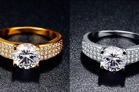 Funklende og elegant! - Damering m. zirkonia-krystaller fra Modane.dk, vælg ml. 18 karat guld-belagt eller hvidguld-belagt, værdi kr. 629,-