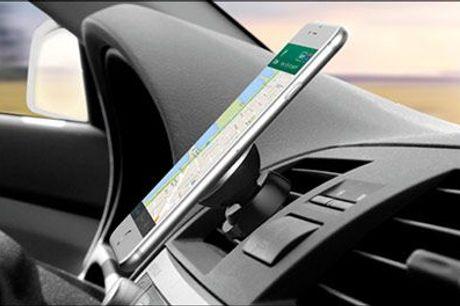 Smart og praktisk - kør sikkert med mobilen på plads..  - Magnet mobilholder til bilen, inklusiv fragt, værdi op til kr. 498