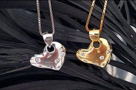Must have til smykkeskrinet..  - Halskæde med zirkoner, inkl. fragt, værdi kr. 699