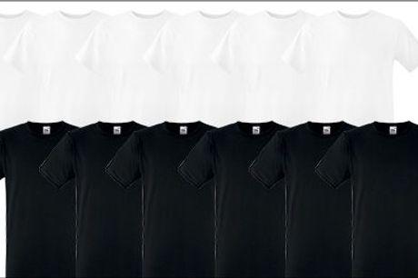 Fyld garderoben op med kvalitets t-shirts - 6 stk. Fruit of the Loom herre T-shirts, sort eller hvid, inkl. fragt, værdi kr. 449,-