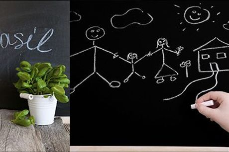 Smart og moderne indretningsløsning - perfekt til noter, børnetegninger mm..  - Selvklæbende tavle-wallsticker til væg, inklusiv fragt, værdi kr. 234