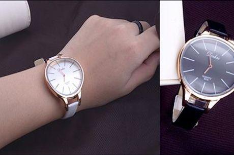 Elegant dameur - det perfekte tilbehør til den modebevidste..  - Dameur med buet skive, hvid eller sort, inkl. fragt, værdi kr. 598