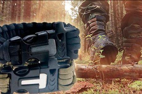 Sådan klarer du dig optimalt i naturen...  - Survival Paracord Bracelet, inklusiv fragt, værdi kr. 213,-