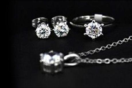 Smukt 18 karat hvidguldsbelagt smykkesæt  - Hvidguldsbelagt Solitaire smykkesæt, inkl. fragt, værdi kr. 1195