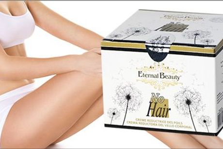 Cremen kan bruges overalt, hvor man måtte ønske at stoppe hårvæksten. - Eternal Beauty Hårstop til kroppen 130 ml fra Naturhuset.dk, værdi 299