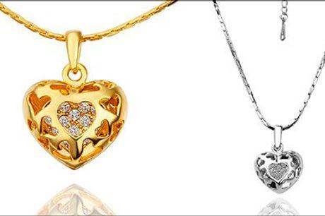 Smuk halskæde til en som står dit hjerte nær! - Kæde m/hjertevedhæng og østrigske krystaller fra Beautidesign.dk, værdi 349,-