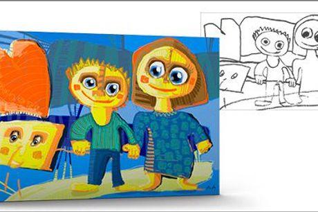 Få børnenes kunstværker foreviget på lærred hos Børnekunst.dk - Børnekunstværk trykt på lærred, 1 m x 1 m, inklusiv fragt, værdi kr. 4100