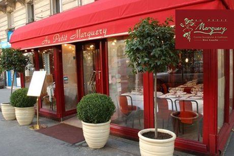 """Menu """"Petit Marguery"""" en 2 ou 3 services pour 2 personnes, au restaurant petit Marguery-Rive Gauche"""