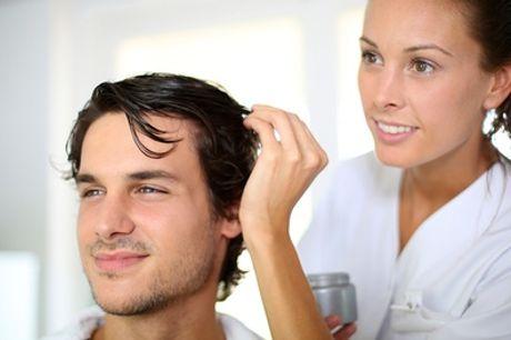 Shampoing, coupe, brushing et modelage crânien pour homme, taille de barbe en option au Salon Gizard