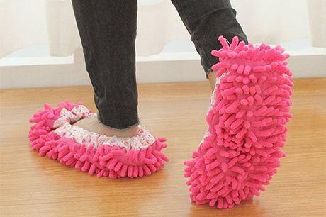Pantofole pulitrici. Pulisce laminato, legno e qualsiasi tipo di superficie. Da indossare solo durante la pulizia. Realizzato in tessuto elasticizzato.