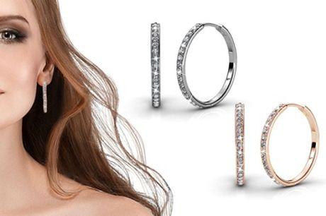 1, 2 o 3 pares de pendientes de aro decorados con cristales Swarovski®
