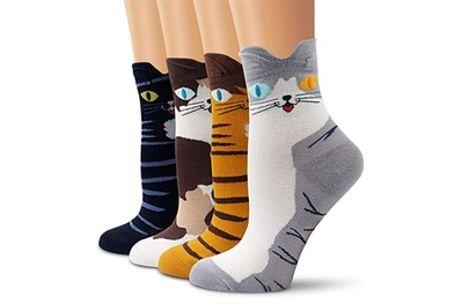 1, 2 of 3 sets van 4 paar sokken met kat-print