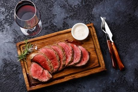 Steak with Glass of Wine for Two or Four at The Bulls Head
