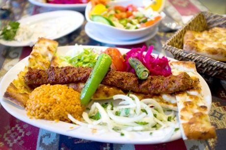 Two-Course Turkish Meal with Warm Turkish Bread and Olives for Two or Four at AĞA Mezze Palace