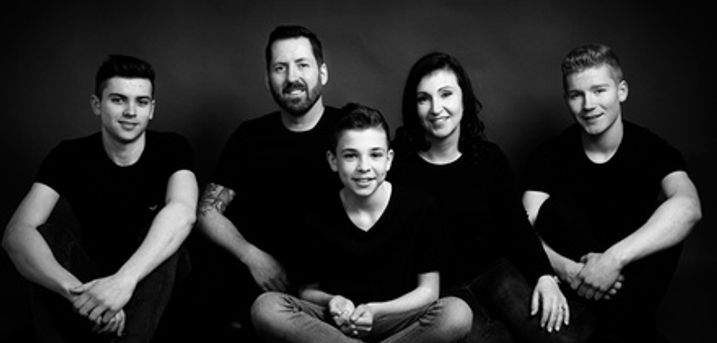 Classic Noir Family Photoshoot with Framed Image at John Jenkins Photography Studio