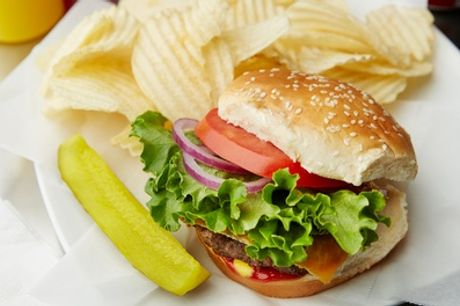 Burger with Chips for One or Two at Mexican House Bar and Grill