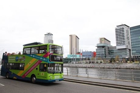 Hop-On and Hop-Off Manchester Bus Tour for Two Adults or a Family of Five with Sightseeing Manchester