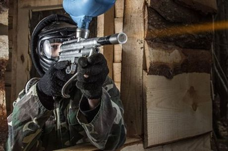Full-Day Paintball Session with 100 Paintballs and Hot Lunch for Five or 10 with Driver Wood Paintball