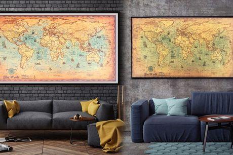 Vintage verdenskort i kraftigt papir