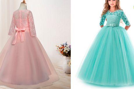 Utrolig smuk prinsessekjole med sløjfe i taljen og tylskørt