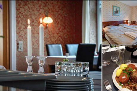 Tag på et skønt ophold med mad & vin - Abild Kro & Hotel for 2 personer med 2 overnatninger, velkomstkaffe og kage, 3 retters menuer med tilpasset vin begge dage samt morgenbuffet. Værdi kr. 3376,-