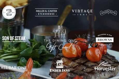 Steak Dining Experience at Choice of Over 1,600 UK Restaurants or Pubs