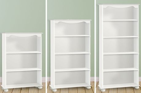 £39 (from Steens Group) for a Richmond white two-shelf bookcase, £49 for a three-shelf bookcase or £59 for a four-shelf bookcase