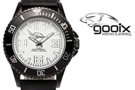 Relógio Gooix® Merek Preto | Branco | 10ATM por 26.40€ PORTES INCLUÍDOS